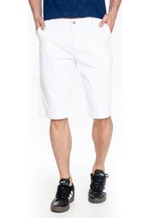 Bermuda Sarja Lemier Collection Slim Color Branca