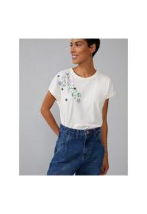 Amaro Feminino T-Shirt Flores Bordadas, Off-White