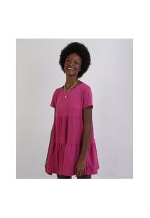 Vestido Feminino Curto Com Babado Manga Curta Decote Redondo Pink