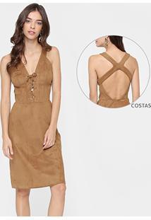 Vestido Colcci Midi De Suede Decote Costas - Feminino