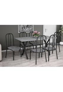 Conjunto De Mesa Miame 150 Cm Com 6 Cadeiras Madri Preto E Vegetale