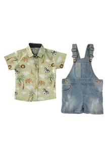 Jardineira Jeans Curta + Camisa Social Mabu Denim Verde Claro