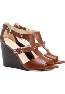 4e9a31aff Sandália Anabela Couro Shoestock Fachete Feminina - Feminino