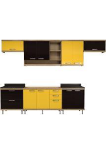 Cozinha Compacta Multimóveis Sicília 5800.132.695.080.610 Argila Preto Amarelo Se