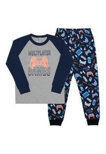 Pijama Meia Malha - 46571-567 - (1 A 3 Anos) Pijama Mescla Cinza - Primeiros Passos Menino Meia Malha Ref:46571-567-1
