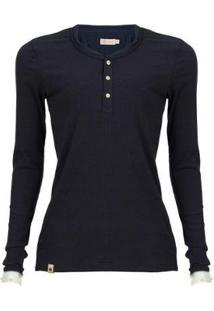 Camiseta Seeder Manga Longa Feminina - Feminino-Azul