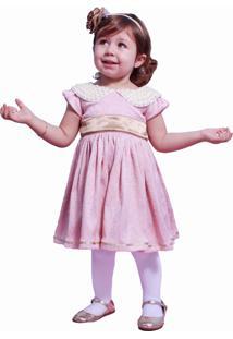 Vestido Infantil Com Gola Em Perolas Liminha Doce Rosa