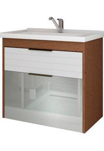 Gabinete Suspenso Para Banheiro Azaléia 56X59Cm Amêndoa E Branco
