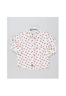 Camisa Infantil Estampada De Raposa Manga Longa Branca