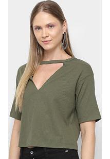 Tshirt My Favorite Thing Descolada Recorte Feminina - Feminino-Verde