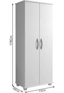 Armário Multiuso Para Lavanderia 2 Portas 3 Prateleiras Aracaju Arte Móveis Branco