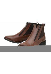 Bota Couro Stevan Boots Elástico Marrom