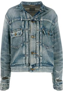 Saint Laurent Jaqueta Jeans Destroyed - Azul