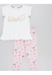 """Conjunto Infantil De Blusa """"Love"""" Manga Curta Branca + Calça Legging Estampada De Estrela Do Mar Rosa"""