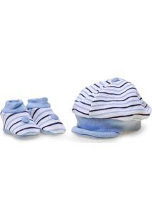 Sapatinho+Bone Masc Infantil Pimpolho 7671 Kit Branco/Azul