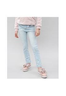 Calça Jeans Infantil Com Puídos Azul Claro
