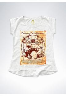 Camiseta T-Shirt Feminina Rock Cool Tees Bateria Da Vinci Mescla