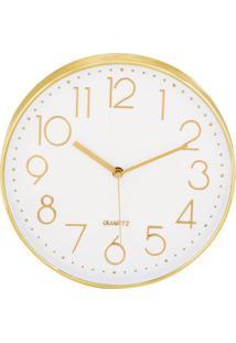 Relógio De Parede- Branco & Dourado- 4Xø30Cm- Mamart