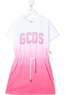 Gcds Kids Vestido Reto Degradê Com Logo De Tachas - Branco