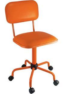 Cadeira De Escritório Secretária Color Fixa Corano Laranja