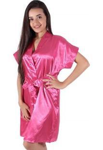 Robe Linha Noite De Cetim Feminino - Feminino-Pink
