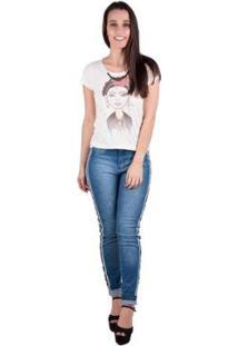 Camiseta Banna Hanna Sublimada Feminina - Feminino-Off White