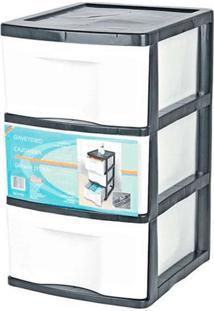 Gaveteiro De Chão Plástico São Bernardo Preto E Branco Com 3 Gavetas 33X38X56Cm