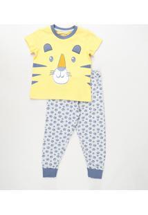 Pijama Infantil Tigre Manga Curta Amarelo