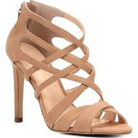 455758925c Sandália Couro Shoestock Salto Fino Tiras Cruzadas Feminina - Feminino-Nude