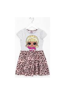Vestido Infantil Lol Com Saia Estampa Animal Print - Tam 4 A 14 Anos | Lol Surprise | Cinza | 11-12