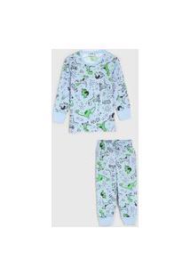 Pijama Fakini Longo Infantil Dinossauros Azul