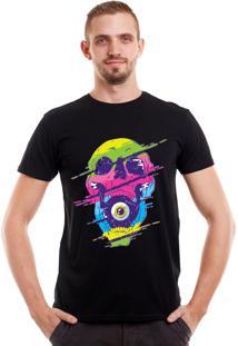 Camiseta Geek10 Caveirapsicodélica Psy Preta