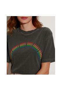"T-Shirt De Algodão Arco-Íris Happy"" Manga Curta Decote Redondo Mindset Chumbo"""