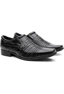 Sapato Social Hshoes Couro Bico Quadrado Macio Masculino - Masculino-Preto