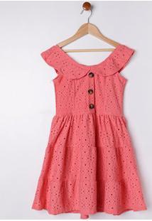 Vestido Juvenil Para Menina - Coral