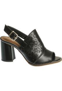ed1ce4459 Sandal Boot Couro Preta Recortes Vazados Em Flor