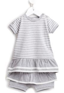 Moncler Kids Vestido Com Short Listrado - Cinza