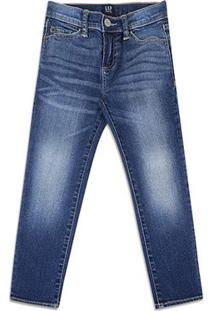 Calça Jeans Infantil Gap Estonada Masculina - Masculino-Azul