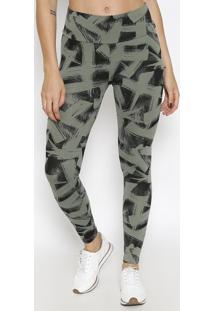 Legging Fusion Aop - Verde Militar & Cinza Escuropuma