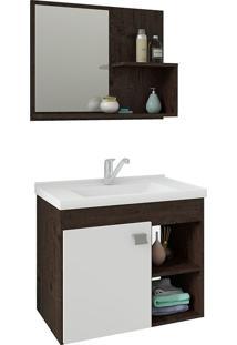 Conjunto Para Banheiro Com 1 Porta E Cuba Lotus-Mgm - Café / Branco