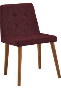 Cadeira Vega Base Gota Madeira Tauari Linho Marsala Daf