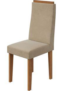 Cadeira Dafne Veludo Naturale Creme Rovere Naturale