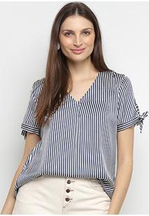Blusa Lily Fashion Bata Listrada Laço Manga Feminina - Feminino-Marinho