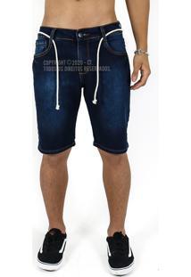 Bermuda Jeans Masculina Com Lycra Lavagem Linda Azul 400 - Kanui