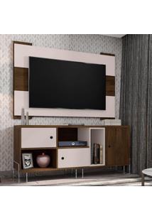 Rack Dinamarca Com Painel Para Tv Até 55 Polegadas Viena Cedro E Nude 136 Cm