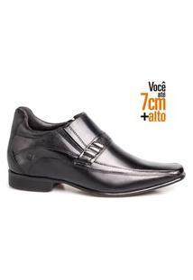 Sapato Social Masculino Couro Bico Quadrado Aumenta Altura Preto