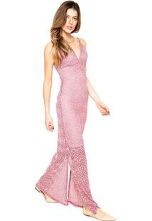 Vestido D F Top Moda Longo Fendas Vermelho