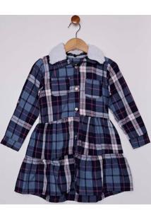 Vestido Flanela Infantil Para Menina - Azul Marinho
