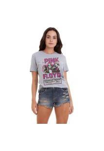 Camiseta Básica Joss Estampada Pink Floyd Cinza