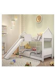 Beliche Infantil Casa Branca Com Escorregador Casah
